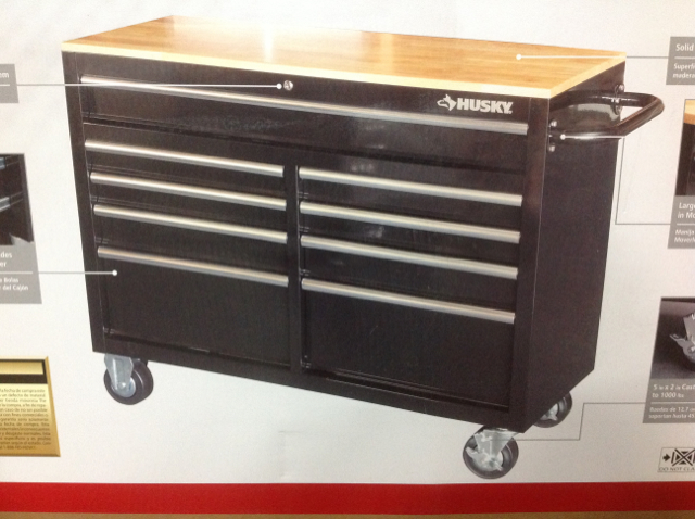 Husky 46 In 9 Drawer Mobile Workbench With Solid Wood Top New In Box